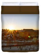 Sunflare At The Museum Duvet Cover