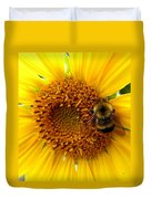 Sunflower And A Bee Duvet Cover