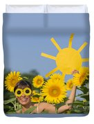 Sunflower And Sun Duvet Cover