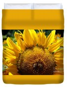 Sunflower And Two Bees Duvet Cover