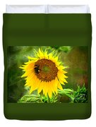 Sunflower And Visitors Duvet Cover