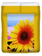 Sunflower At Beach Duvet Cover
