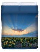 Sunflower Field At Sunset Duvet Cover