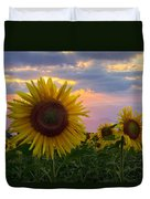 Sunflower Field Duvet Cover by Debra and Dave Vanderlaan