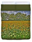 Sunflower Fields Ford World Headquarters Dearborn Mi Duvet Cover