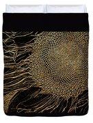 Sunflower Gold Leaf Sketch Duvet Cover