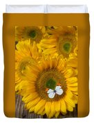 Sunflower With White Butterfly Duvet Cover