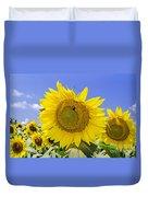 Sunflowers And Blue Sky Duvet Cover