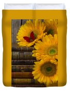 Sunflowers And Old Books Duvet Cover by Garry Gay