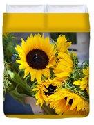 Sunflowers At Market Duvet Cover