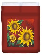 Sunflowers At Sunset Duvet Cover