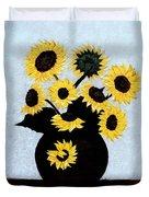 Sunflowers Expressive Brushstrokes Duvet Cover