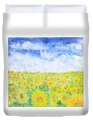 Sunflowers In A Field In  Texas Duvet Cover