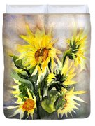 Sunflowers In Abstract Duvet Cover