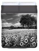 Sunflowers In Black And White Duvet Cover