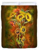 Sunflowers In Sunflower Vase Duvet Cover by Carol Cavalaris