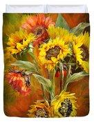 Sunflowers In Sunflower Vase - Square Duvet Cover by Carol Cavalaris