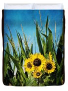 Sunflowers In The Corn Field Duvet Cover