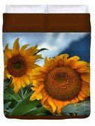 Sunflowers In The Wind Duvet Cover