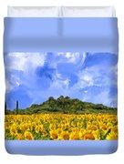 Sunflowers In Tuscany Duvet Cover