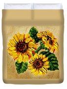 Sunflowers On Wooden Board Duvet Cover
