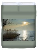 Sunlight On The Lake With Pampas Grass Duvet Cover