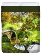 Sunlit Bridge In Park Duvet Cover
