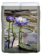 Sunlit Purple Lilies  Duvet Cover