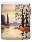 Sunlit River - Chess At Latimer Duvet Cover