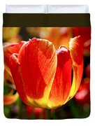 Sunlit Tulips Duvet Cover by Rona Black