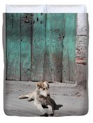 Dog Enjoying A Sunny Doorstep Duvet Cover