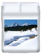 Sunny January Day Sawtooth Mountains Duvet Cover
