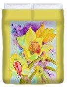 Sunny Splash Of Orchids Duvet Cover by Beverley Harper Tinsley