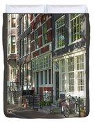 Sunny Street In Amsterdam Duvet Cover