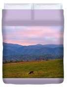 Sunrise And Deer In Cades Cove Duvet Cover