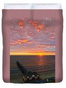 Sunrise At Saltburn Pier And Seafront Portrait Duvet Cover