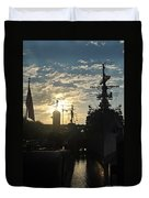 Sunrise At The Naval Base Silhouette Erie Basin Marina V5 Duvet Cover