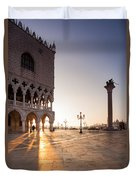 Sunrise In St Marks Square Venice Italy Duvet Cover