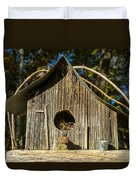 Sunrise On Birdhouse Homestead Duvet Cover