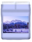 Sunrise On Snowy Mountain Duvet Cover