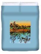 Sunrise On Willows Duvet Cover by Carolyn Doe