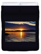 Sunrise On Yellowstone Lake Duvet Cover