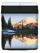 Sunrise Over A Small Reflecting Pond Duvet Cover