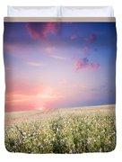 Sunrise Over Flower Land Duvet Cover