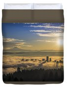 Sunrise Over Foggy Portland Duvet Cover