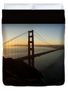 Sunrise Over Golden Gate Bridge And San Francisco Bay Duvet Cover