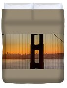 Sunrise Over San Francisco Bay Through Golden Gate Bridge Duvet Cover