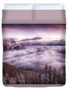 Sunrise Over The Canadian Rockies Duvet Cover