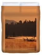 Sunrise Over The Yellowstone River Duvet Cover