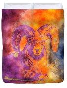 Sunrise Ram Water Color Duvet Cover